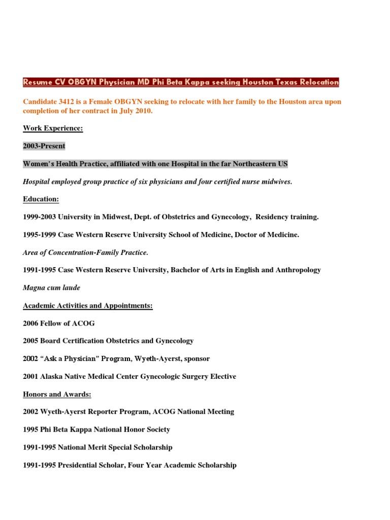 download resume cv obgyn physician md phi beta kappa seeking houston