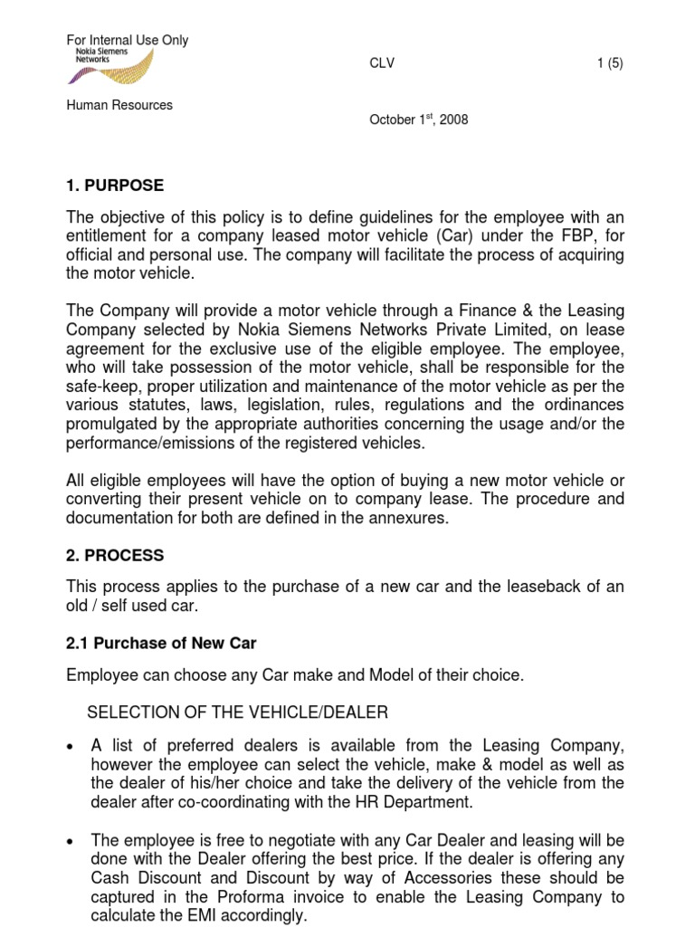 company vehicle policy and procedures