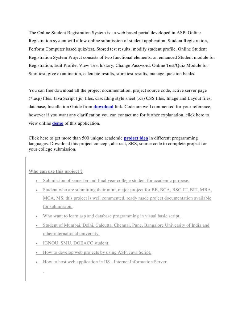 online student registration project