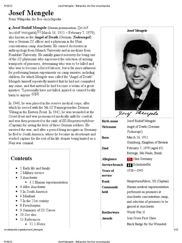 essay about josef mengele The guard was quite excited because the famed dr josep mengele used the  prisoners  duration: 3 class periods of 45 minutes each the essay writing can  be.
