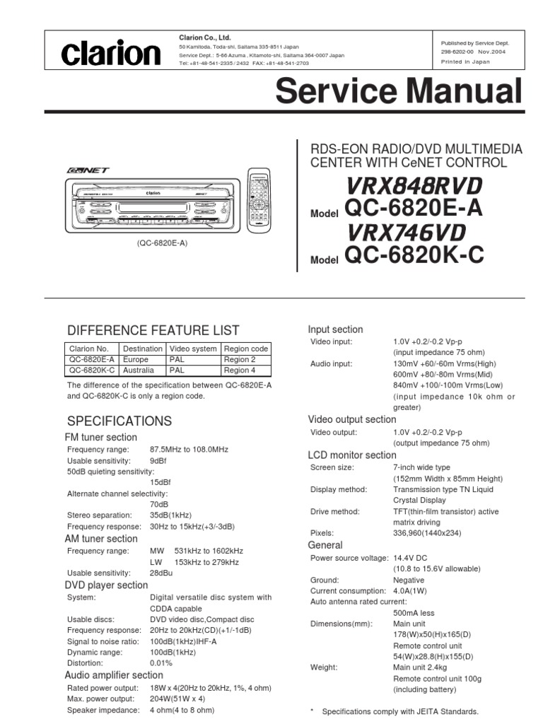 Wiring Diagram For Clarion Model Drb3675 Trusted Drb4475 Car Radio Download Vrx848rvd Vrx746vd Service Manual Docshare Tips Rostra