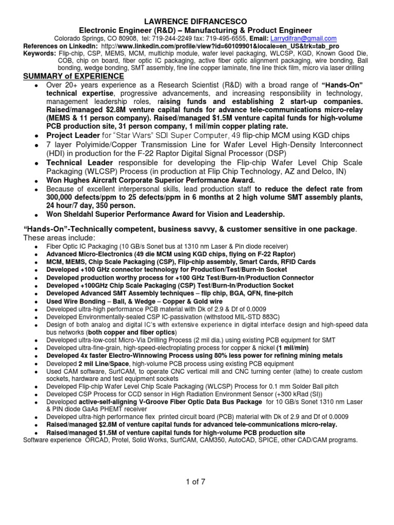 advanced electronic packaging engineer in colorado springs co resume