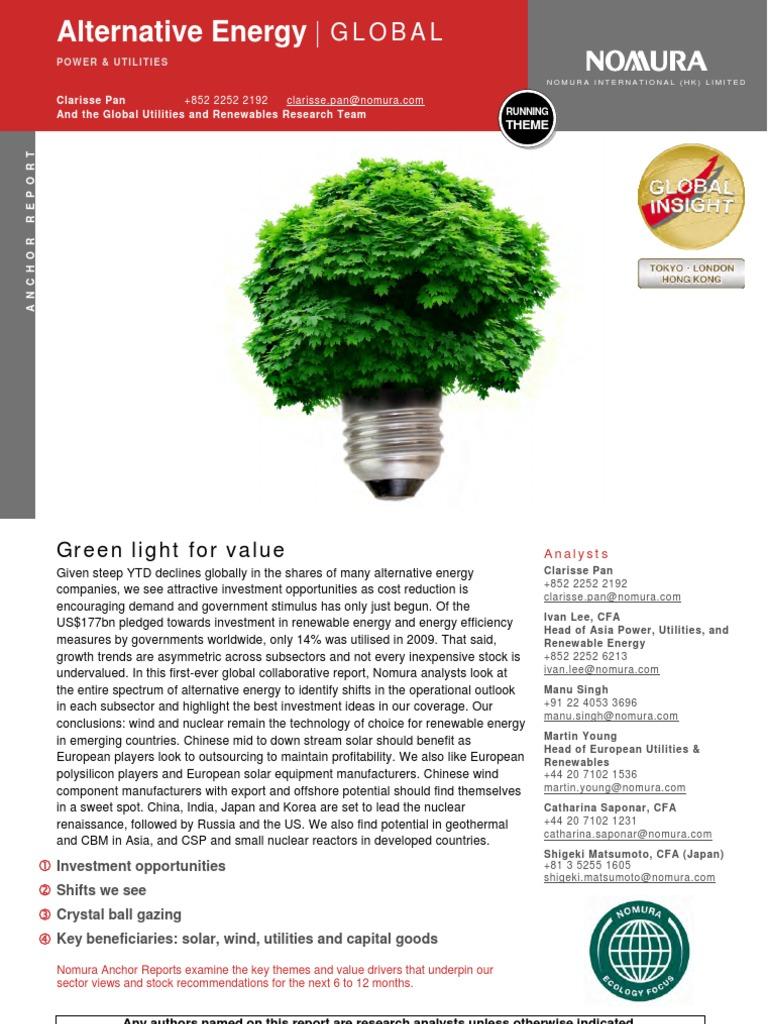 Nomura Alternative Energy Global - DocShare tips
