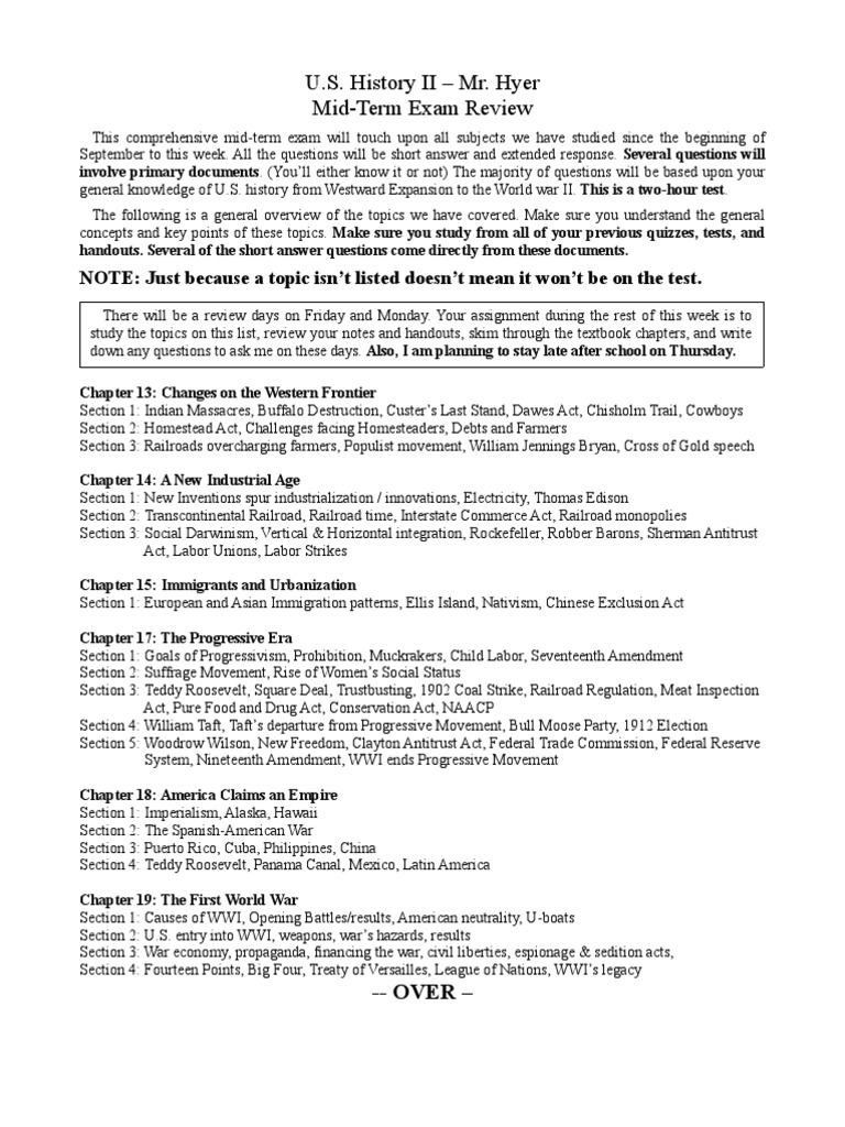 Mid-Term Exam Review Sheet - DocShare tips