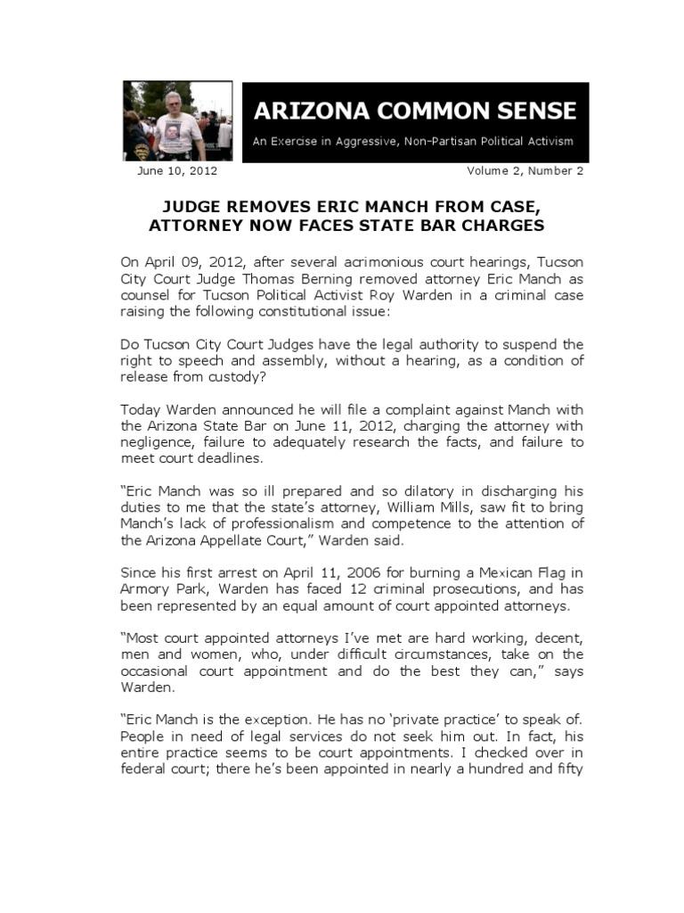 Download BAR COMPLAINT AGAINST TUCSON ATTORNEY ERIC MANCH ...