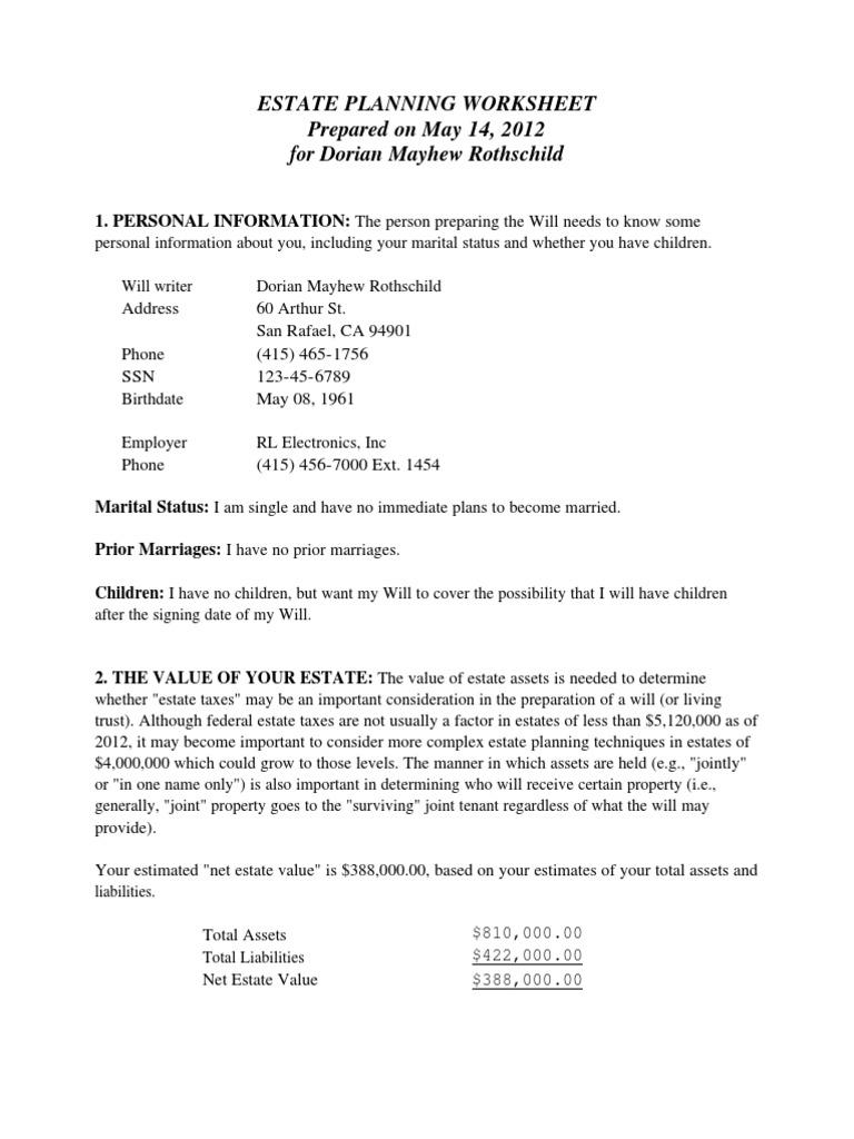 Uncategorized Estate Planning Worksheet estate planning worksheet for single people docshare tips