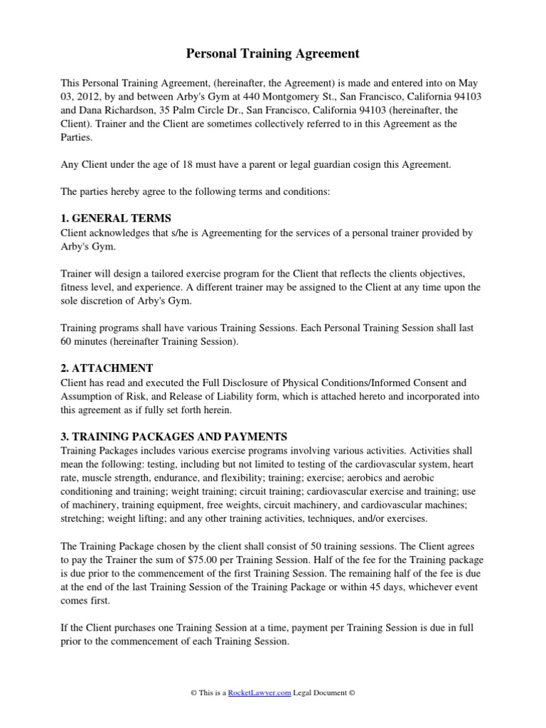 Personal Training Agreement Docshare Tips