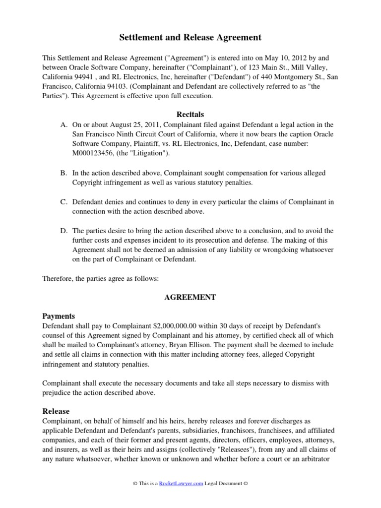 Download Sample California Mutual Release And Settlement Agreement