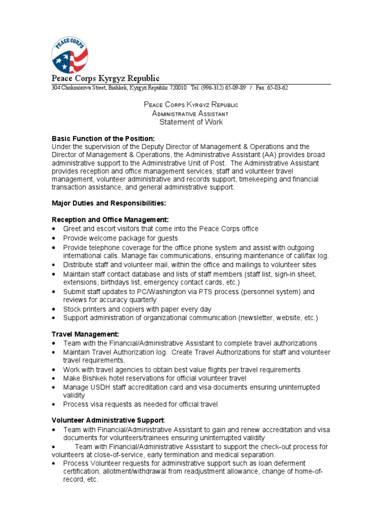 download peace corps statement of work pcmc nurse practitioner