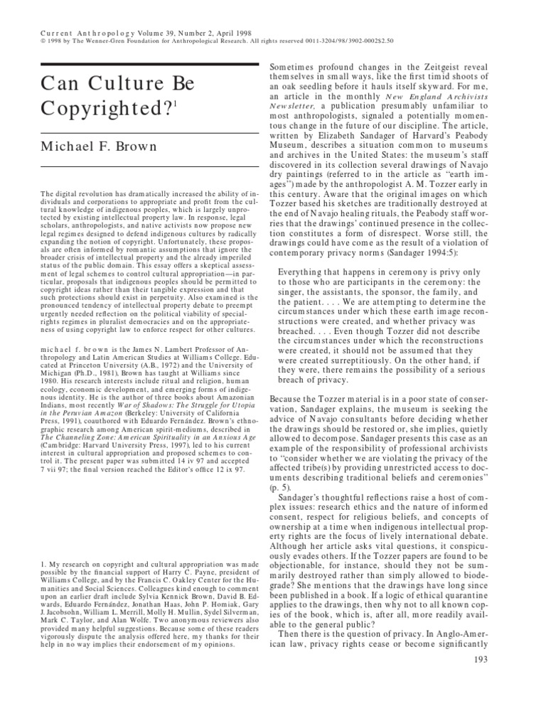 an essay on michael browns can culture be copyrighted The term is most widely used in the uk where circumcision among non-jews or non-muslims is more rare, but in the united states, where it is more common, it can be considered insulting to many non-jewish males as well.