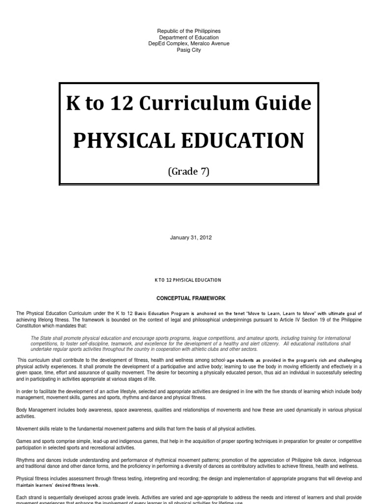 download physical education k to 12 curriculum guide grade 7 rh docshare tips mapeh k-12 curriculum guide grade 8 mapeh k 12 curriculum guide competencies