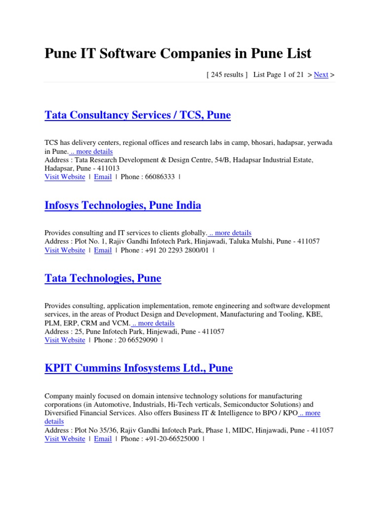 Pune IT Software Companies in Pune List - DocShare tips