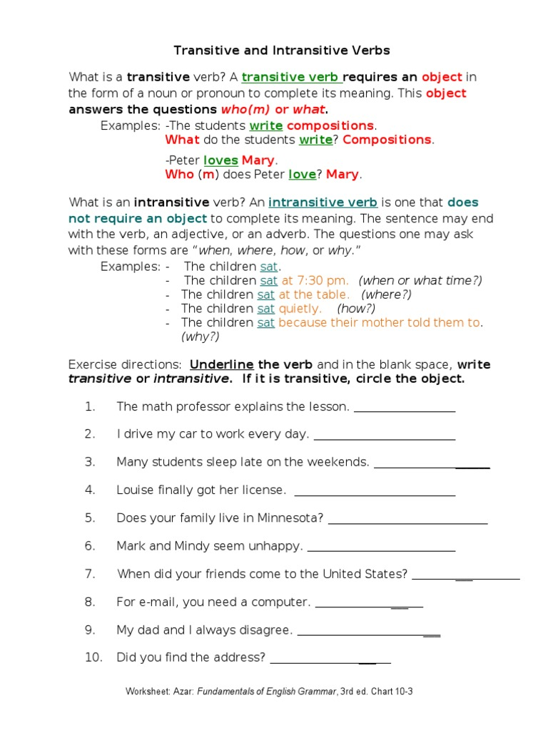 Workbooks transitive and intransitive verbs worksheets : Transitive Intransitive Verbs - DocShare.tips