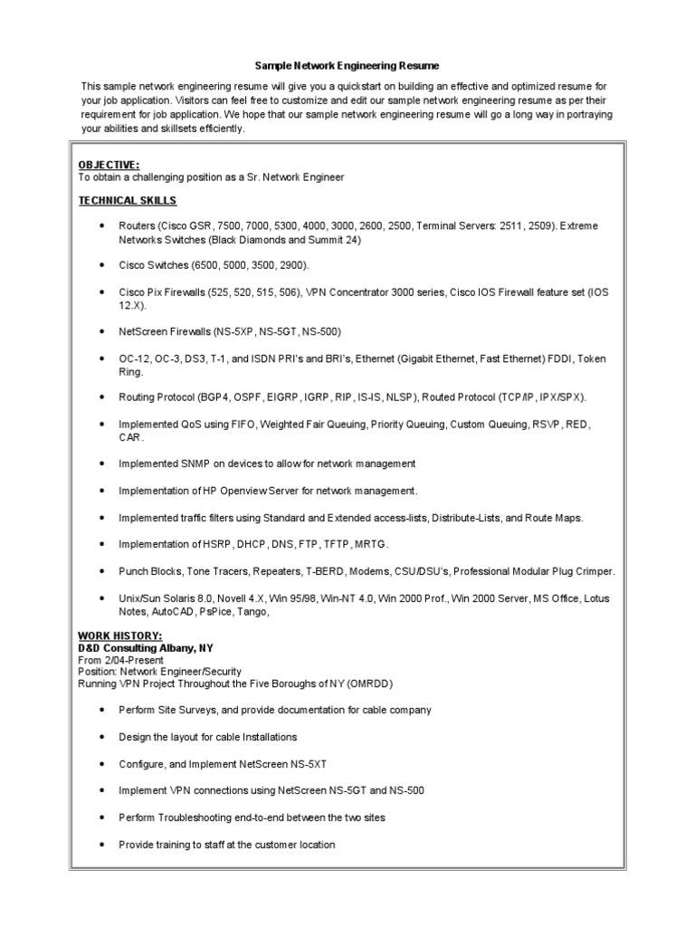 network engineer resume format doc network engineer resume best sample 007 doc docshare tips 12241