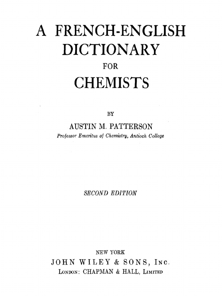 French English Dictionary For Chemists 2ed Patterson Also Warn Winch Wiring Diagram Moreover Acorn Stair Lift Parts