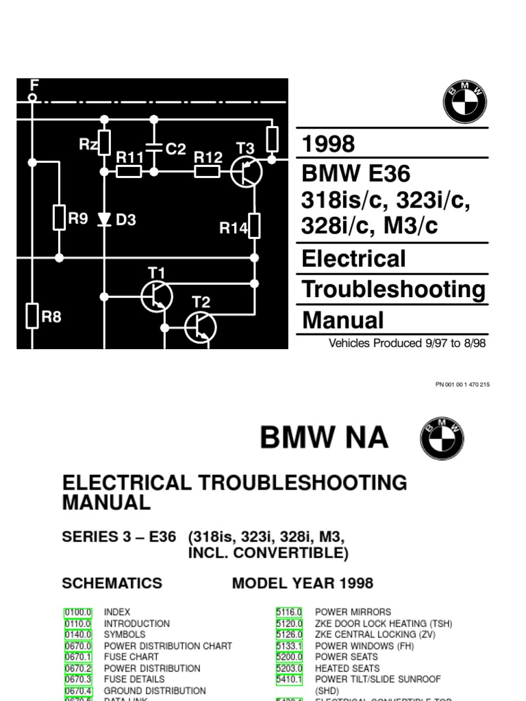 1998 Bmw 318is C 323i 328i M3 Electrical Troubleshooting 318i Fuse Diagram Manual
