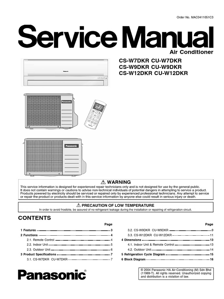 Download Panasonic Cs W7dkr W9dkr Series Service Manual Parallel Circuits Refrigeration Air Conditioning Dvd 5 Repair Guide