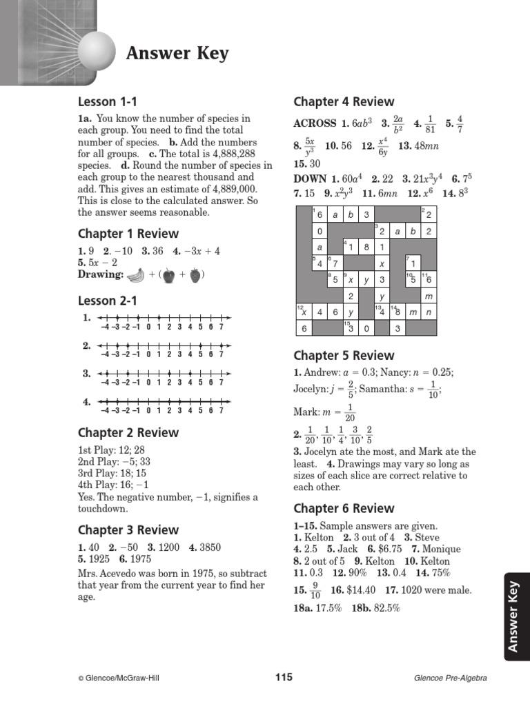 Download Glencoe Pre Algebra Study Guide Answer Key - DocShare.tips
