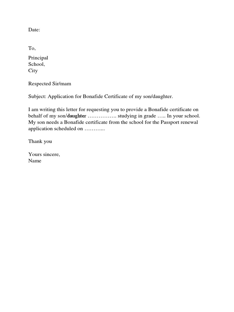 application letter for bonafide certificate from school application letter bonafide certificate college 438