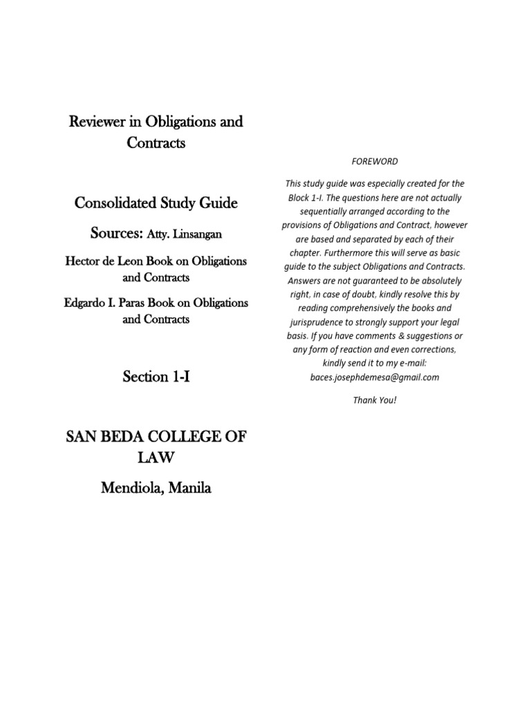 Obligations And Contracts By Hector De Leon Pdf