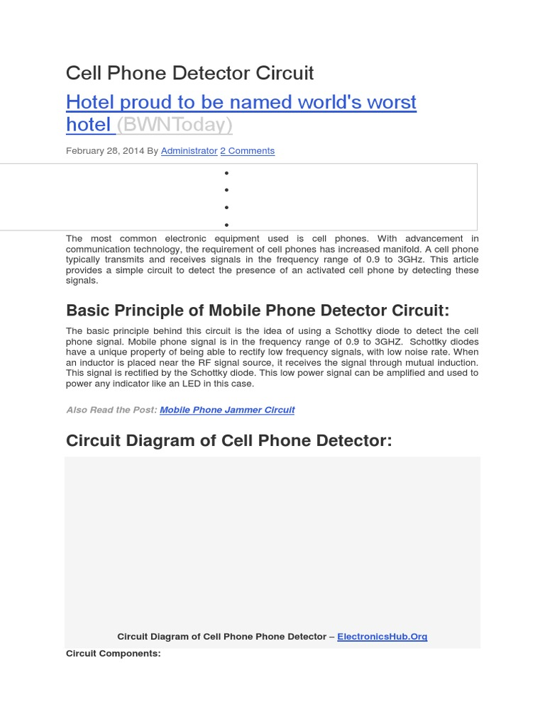 Download Cell Phone Detector Circuit Mobile