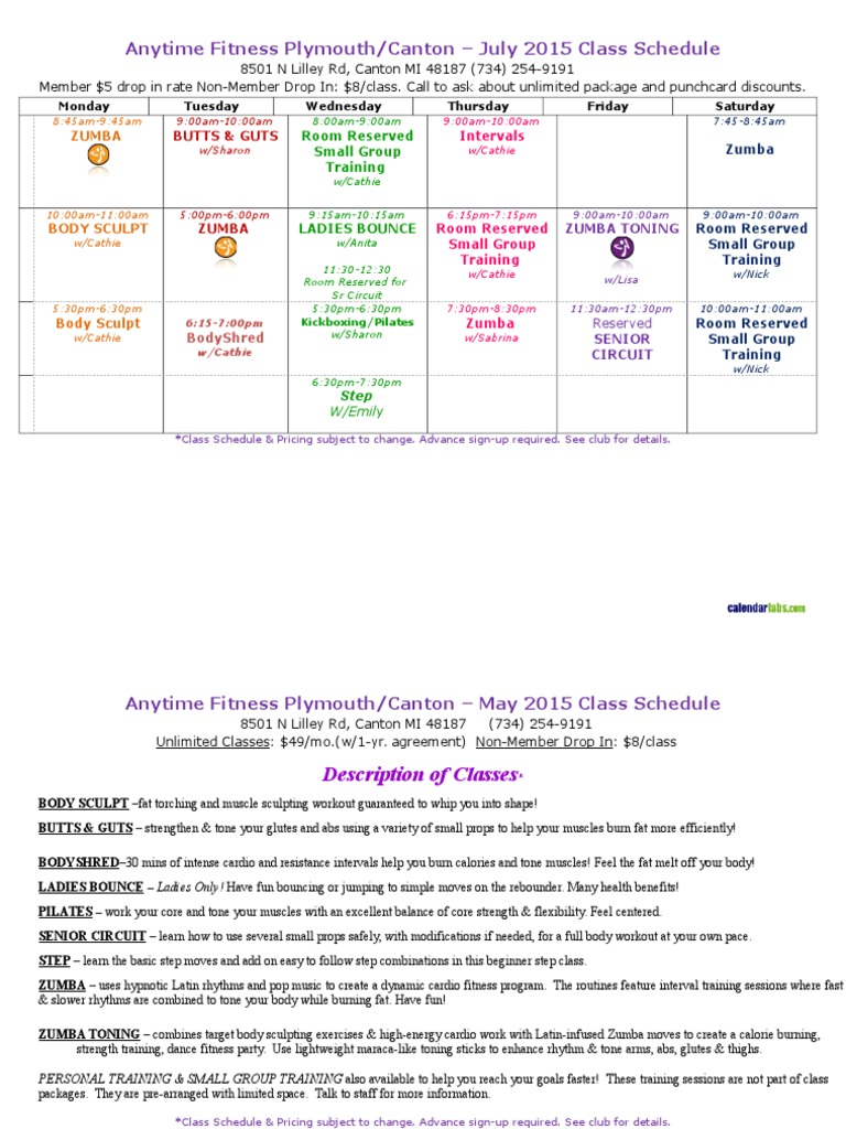 lifetime fitness class schedule | fitness and workout