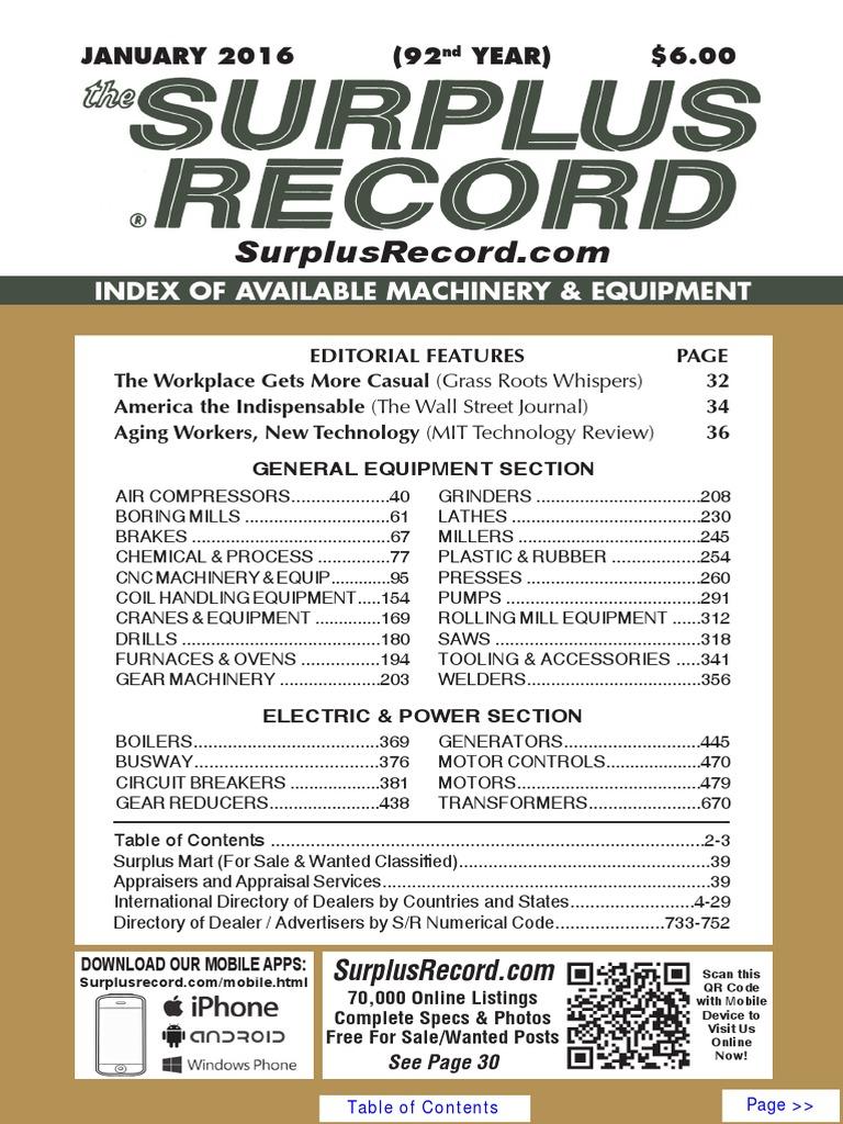 JANUARY 2016 Surplus Record Machinery & Equipment Directory ...