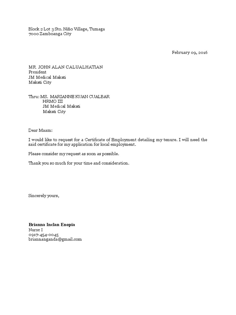 letter of request for certification request for certificate of employment docshare tips 11973