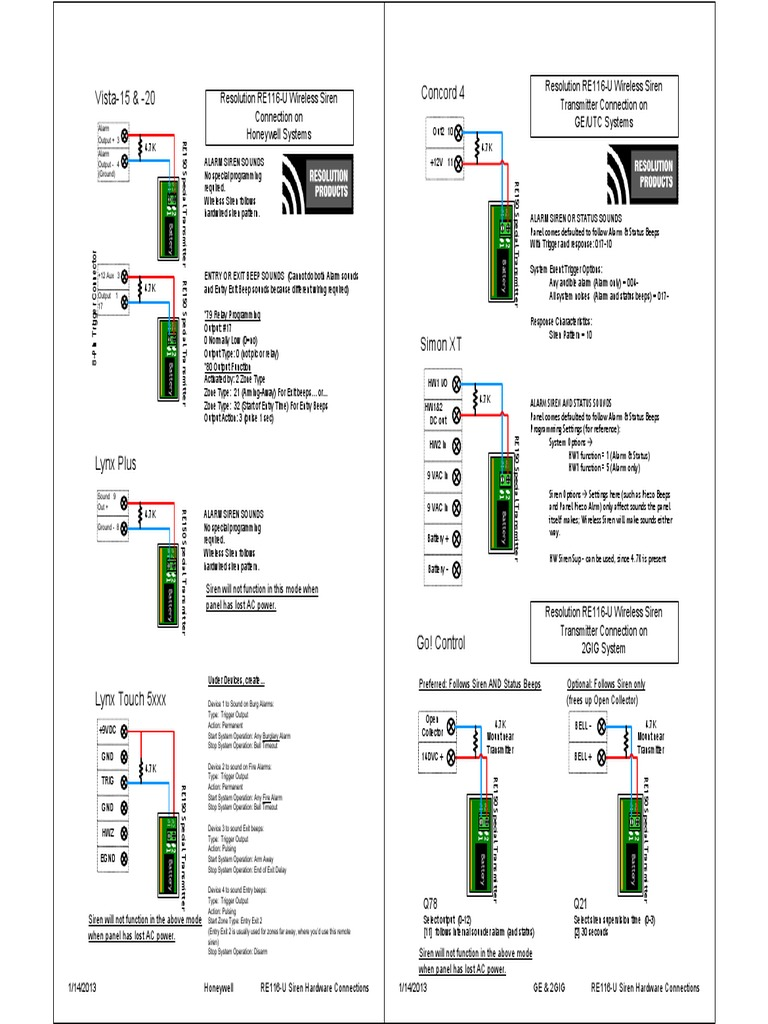 Resolution Products Re116 U Wiring Guide Concord 4 Diagram