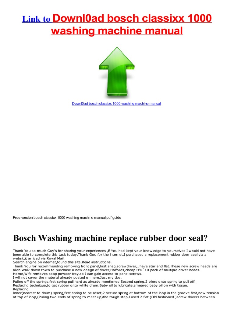 Quick Start Guide bosch classixx 1000 washing machine manual ...