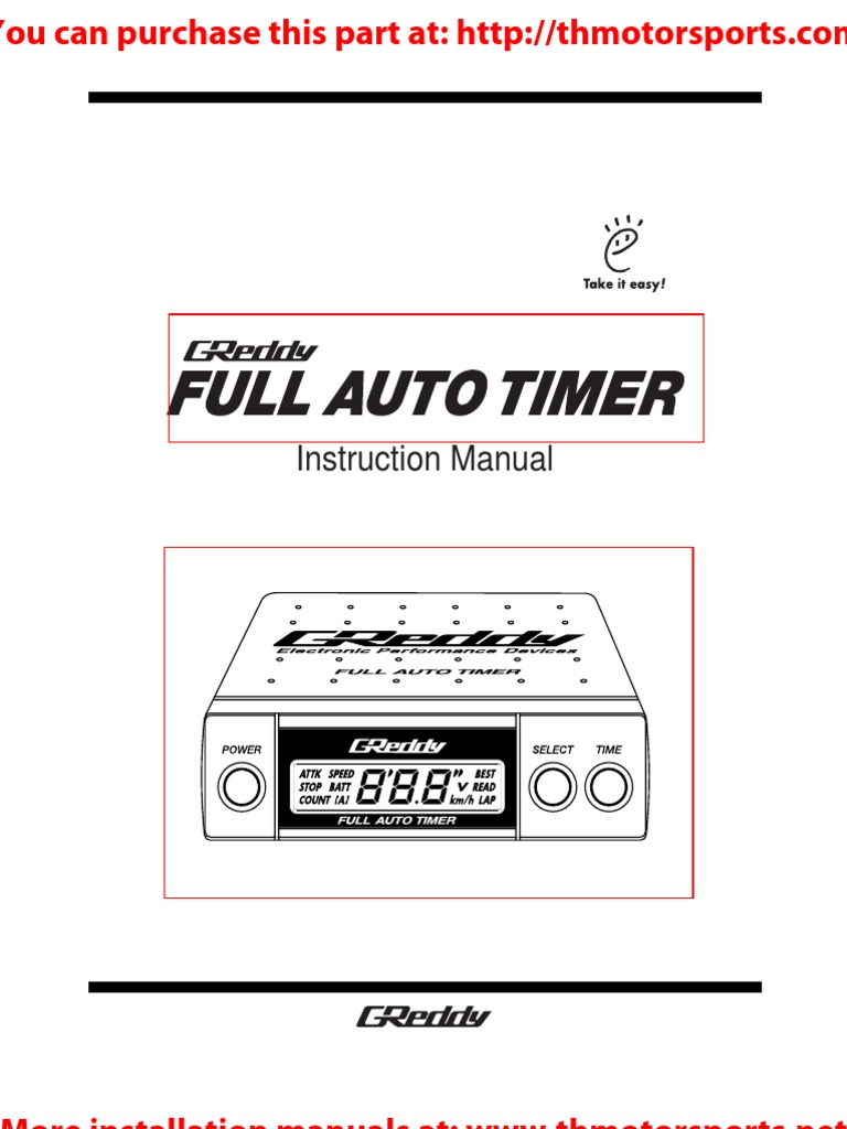 Greddy Turbo Timer Wiring Diagram And Schematics Full Auto Manual