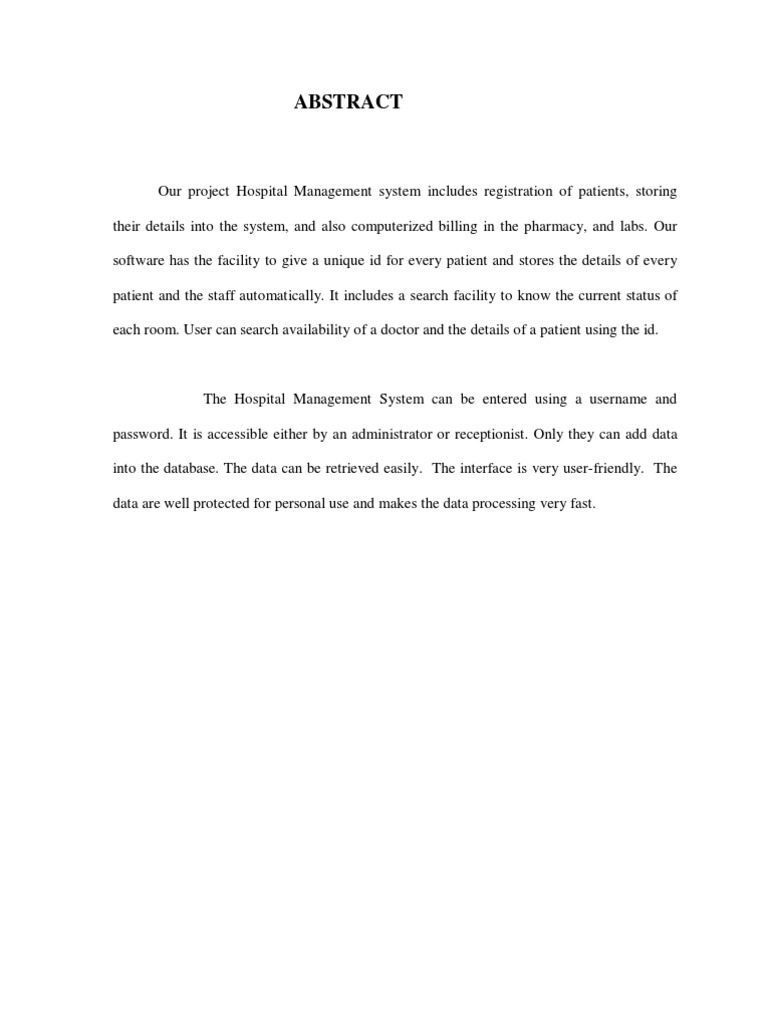 how to write a proposal letter hospital management system abstract docshare tips 4958