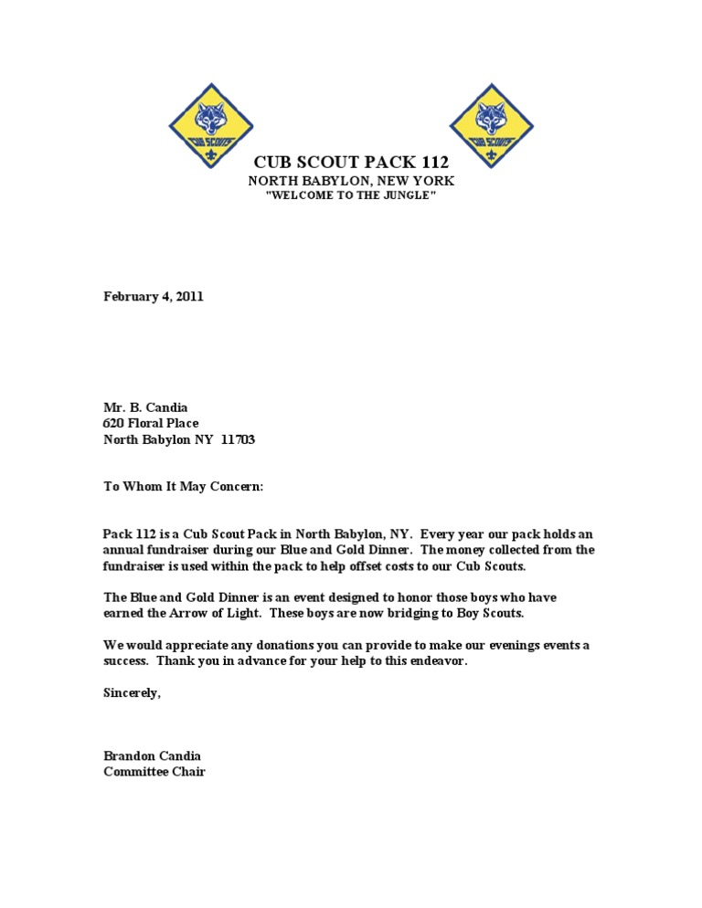 Eagle Scout Donation Thank You Letter