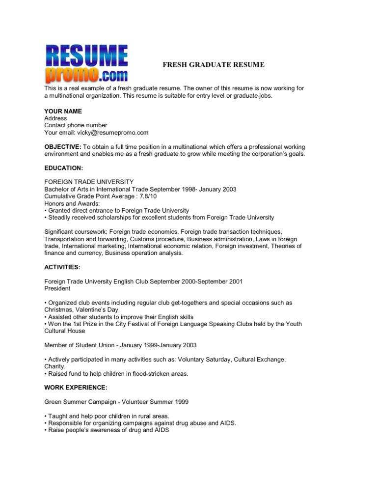 Sample Resume For Fresh Graduate Mathematics Resume Ixiplay Free